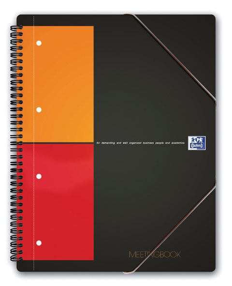 International Meetingbook - 2 in 1 Block und Gummizugmappe, A5+, kariert, 80 Blatt, grau