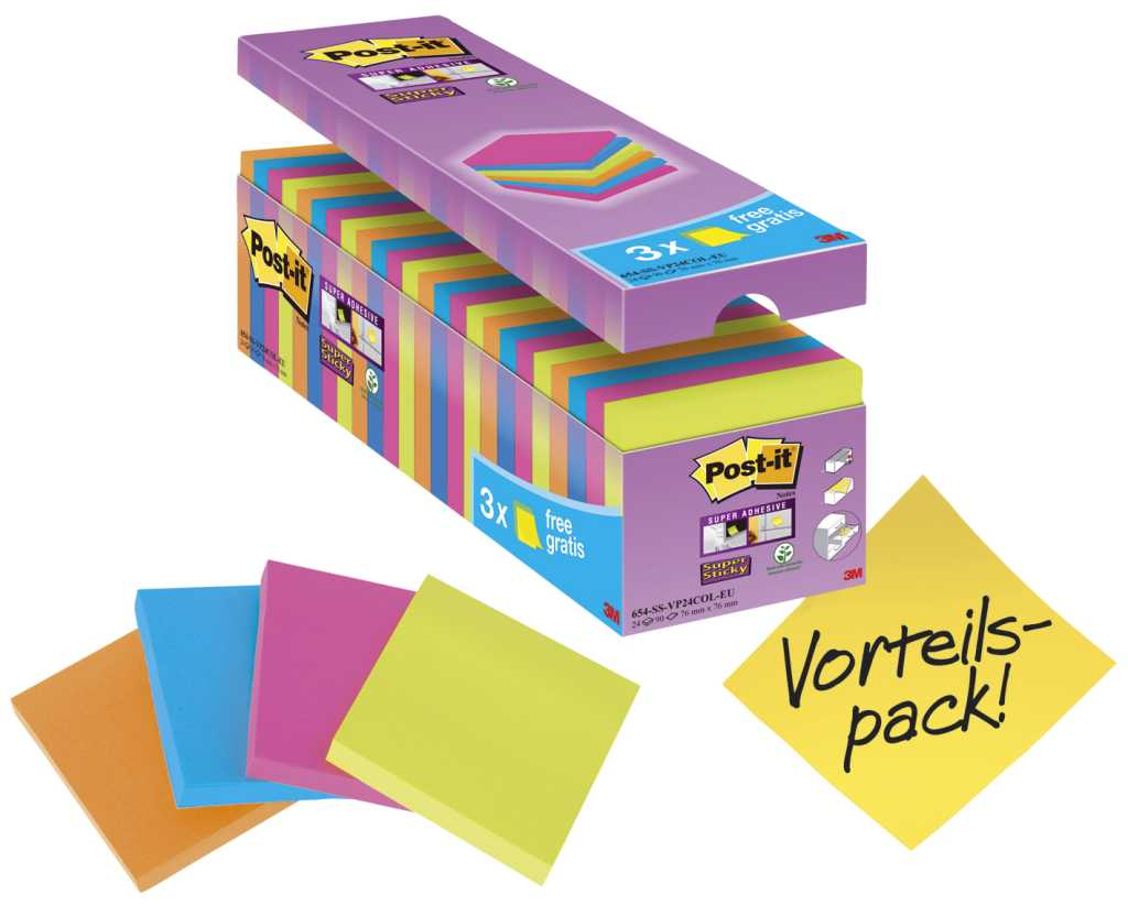 Haftnotiz Super Sticky Notes Promotion Bangkok Collection, 76x76mm, 24 x 90 Blatt