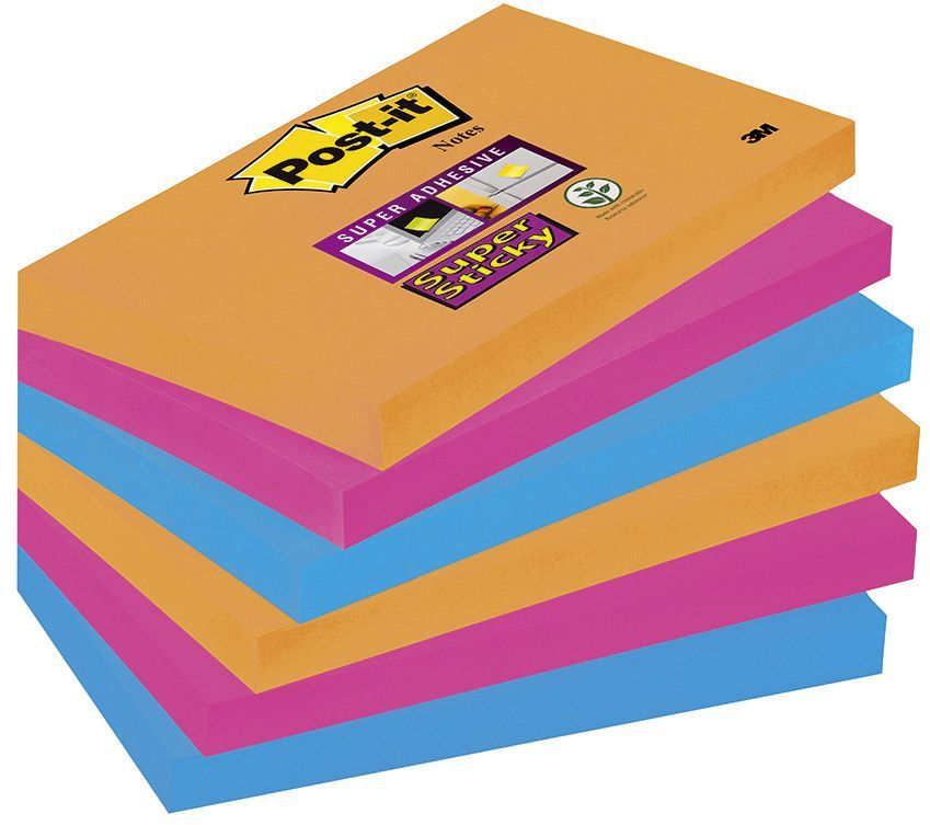 Haftnotiz Super Sticky Notes Electric Glow Collection, 127 x 76 mm, or, pi, bl