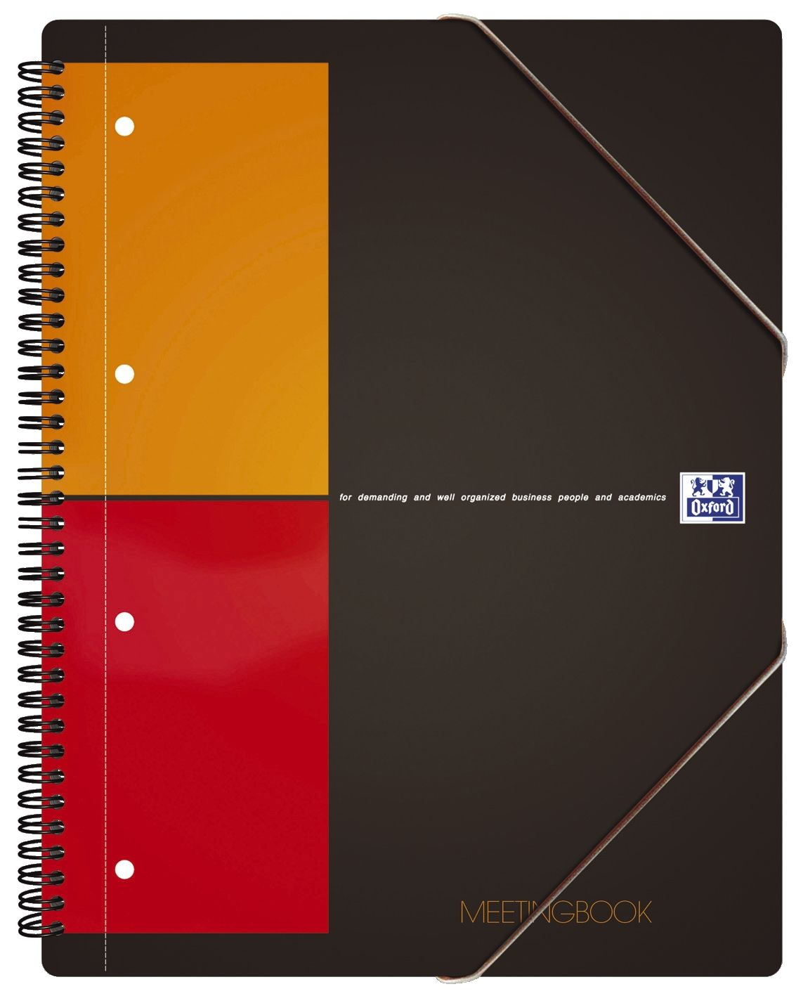 International Meetingbook - 2 in 1 Block und Gummizugmappe, A4+, kariert, 80 Blatt, grau
