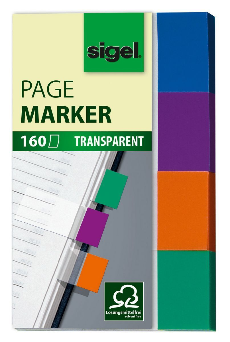 Haftmarker Transparent, mint, orange, violett, türkis, 20x50 mm, 160 Streifen